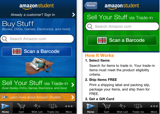 Amazon college textbooks app for textbook rentals and more